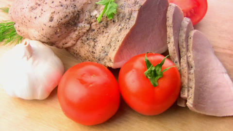 Balyk, tomatoes, herbs, garlic Stock Video Footage