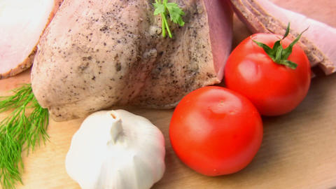 Balyk, tomatoes, herbs, garlic Stock Video Footage