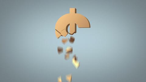 dollar sign destruction concept over grey Stock Video Footage