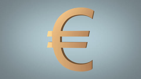 euro sign destruction concept over grey Stock Video Footage