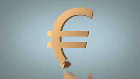 euro sign destruction concept over grey Animation