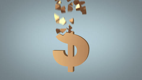 Fast Dollar Sign Reconstruction Concept stock footage