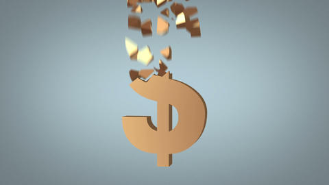 fast dollar sign reconstruction concept Stock Video Footage