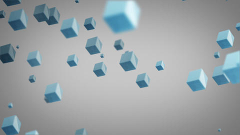 flying blue cubes loop Animation