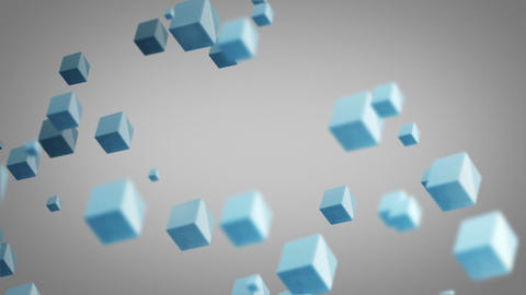 flying blue cubes loop Stock Video Footage