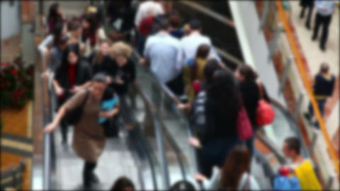 Escalator with people in the mall (no focus) Stock Video Footage