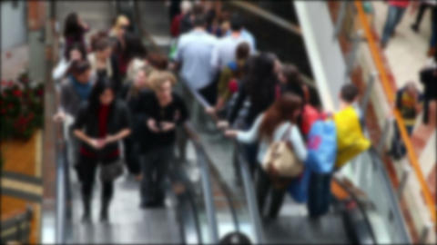 Escalator with people in the mall (no focus) Footage