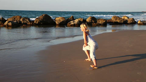 Woman Working out at Beach Stock Video Footage