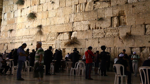 People pray at the Western Wall Stock Video Footage