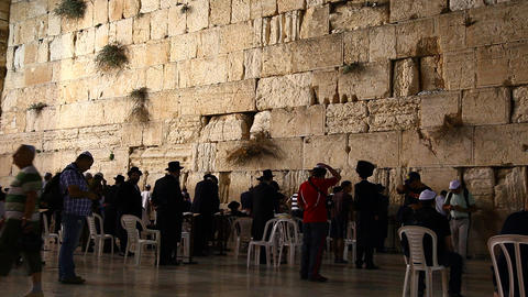 People pray at the Western Wall Footage