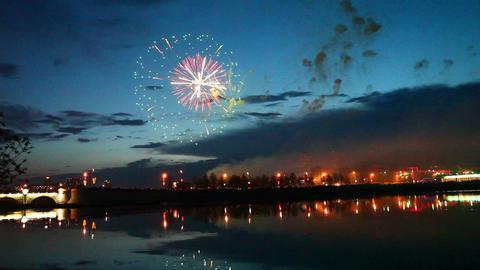 Firework streaks in the night sky Stock Video Footage