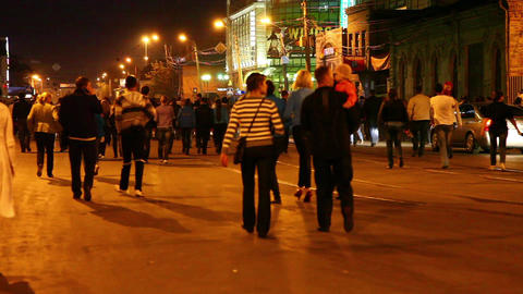 People crossing a street Footage