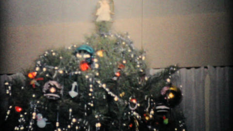 Beautiful Christmas Tree 1957 Vintage 8mm film Stock Video Footage