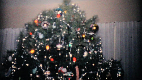 Beautiful Christmas Tree 1957 Vintage 8mm film Footage