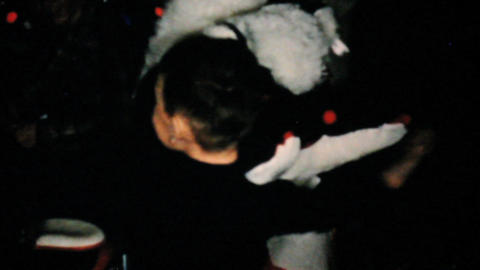 Boy Gets Giant Stuffed Bear For Christmas 1957 Vintage... Stock Video Footage