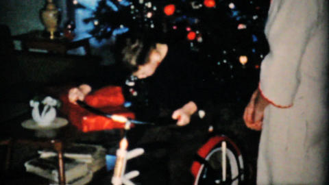 Boy Gets New Bike For Christmas 1957 Vintage 8mm film Stock Video Footage