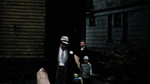 Family Dressed Up In New Easter Outfits 1957 Vintage 8mm... Stock Video Footage