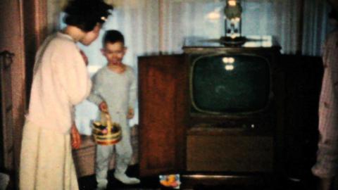 Kids Get Easter Treats 1957 Vintage 8mm film Stock Video Footage