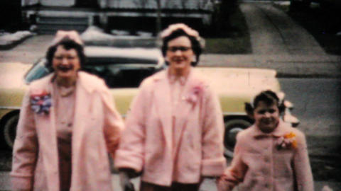Ladies Arrive In New Easter Outfits 1957 Vintage 8mm film Stock Video Footage