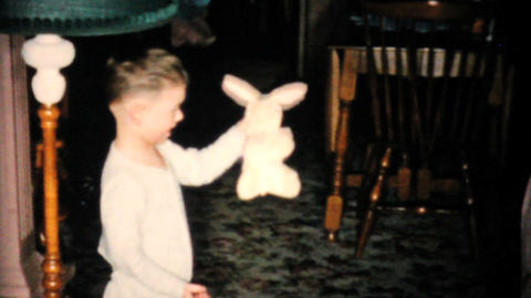 Little Boy With New Yellow Easter Bunny 1955 Vintage 8mm film Footage
