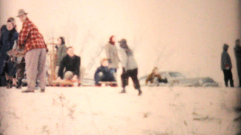 Man Having Fun Sledding In Winter 1957 Vintage 8mm film Footage