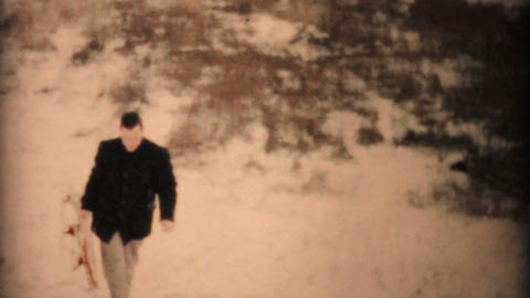 Man Having Fun Sledding In Winter 1957 Vintage 8mm film Stock Video Footage