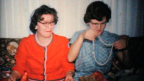 Sisters Opening Christmas Presents 1960 Vintage 8mm film Footage