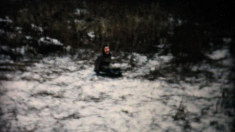 Teenage Girl Sledding On Flying Saucer 1957 Vintage 8mm film Footage