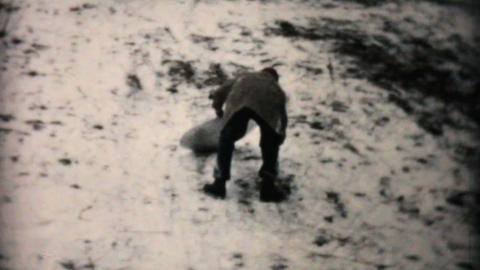 Teenage Girl Sledding On Flying Saucer 1957 Vintage 8mm film Stock Video Footage
