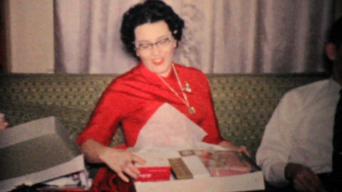 Woman Gets New Purse For Christmas 1957 Vintage 8mm film Footage