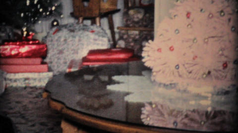 Young Boy Gets Road Race Set For Christmas 1960 Vintage... Stock Video Footage