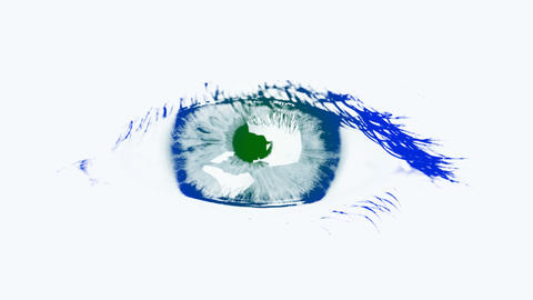 Large eye of the woman. Tinted blue and green Stock Video Footage