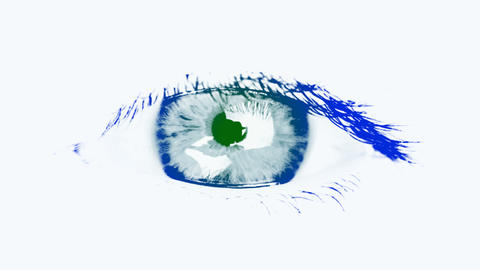 Large eye of the woman. Tinted blue and green Footage