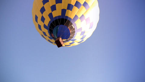 Yellow-blue Hot Air Balloon Stock Video Footage
