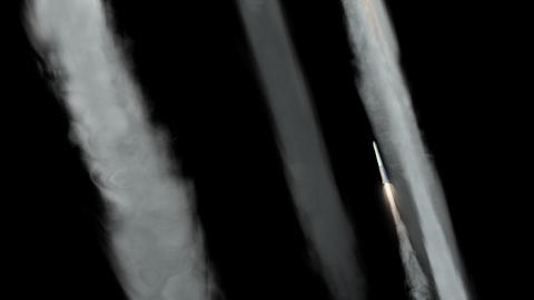 Missiles Being Launched (with Alpha Matte) Stock Video Footage