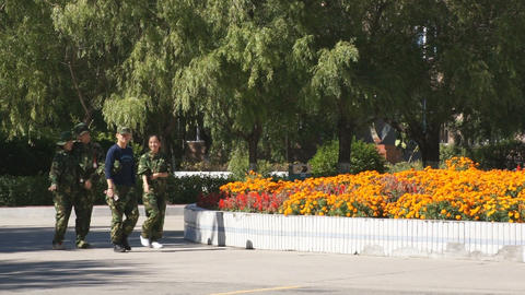 Four Chinese Students in Army Uniform Walking Stock Video Footage