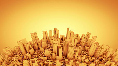 Globe with skyscrapers, gold tint Animation