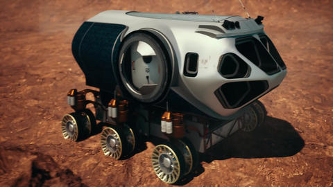 Vehicles on the ground of Mars examining rocks Animation