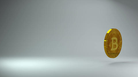 Gold bitcoin cryptocurrency coin logo 3d rotating on gray background. Money investment. Animation Animation