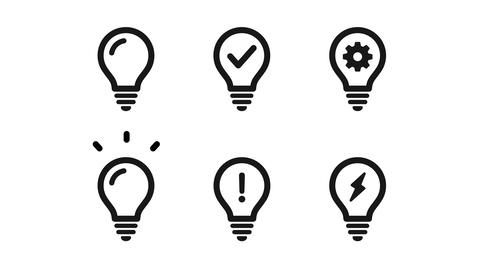 A set of animated light bulbs that represent ideas and inspiration Animation