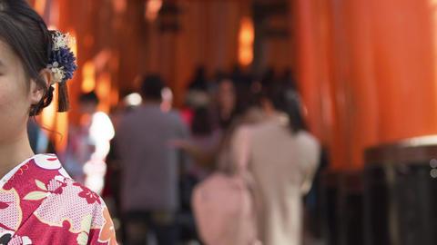 Footage of girl in Kimono at Fushimi Inari Shrine. Kyoto. Japan Tourism, culture Live Action