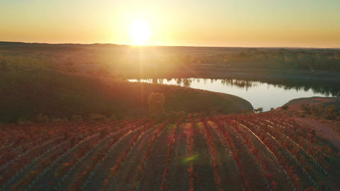 Rural area with scenic landscape of ponds and clay soil in golden hour lighting Live Action