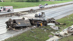 Tornado damage - cars hit on highway Footage