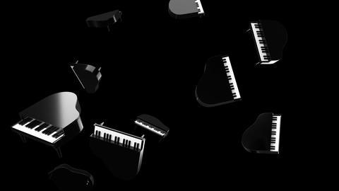 Flying black pianos on black background Animation