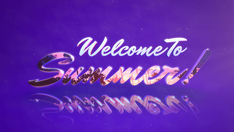 Animated text Welcome to Summer with mirror effect, summer sunset background Animation