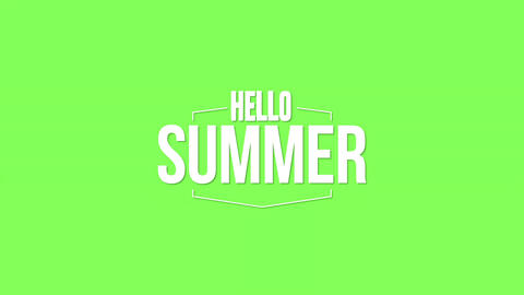 Animated text Hello Summer with gradient green summer background Animation