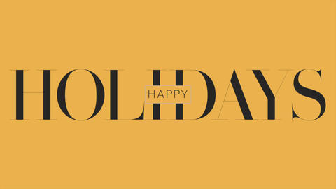 Animation text Happy Holidays on yellow fashion and minimalism background Animation