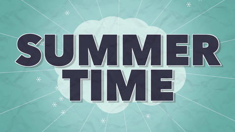Animated text Summer Time with retro lines and flowers, yellow summer background Animation
