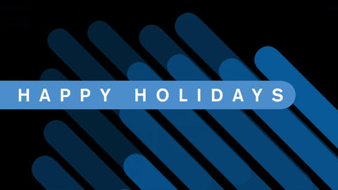 Animation text Happy Holidays on black fashion and minimalism background with geometric blue stripes Animation