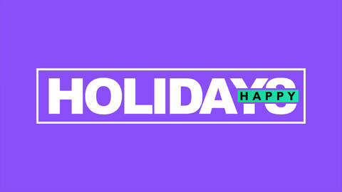 Animation text Happy Holidays on purple fashion and minimalism background Animation
